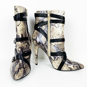 Guess Size 10 Parley Snake Print Ankle Booties
